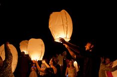 To send off into the sky as the bride and groom leave.  5 Flying Sky Lanterns   Chinese wishing lanterns by TheBourne, $20.00