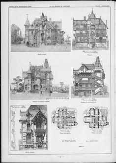 Villas, cottages and country houses / drawings of architectural monuments, build… Villas, cottages and country houses / drawings of architectural monuments, buildings and objects – a visual history of architecture and styles Plans Architecture, Victorian Architecture, Architecture Portfolio, Historical Architecture, Architecture Details, Victorian House Plans, Victorian Homes, Building Plans, Building Design