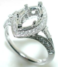Best Setting for Marquise Diamond | Details about .75Ct Halo DIAMOND MOUNTING Ring Setting MARQUISE 9x5mm