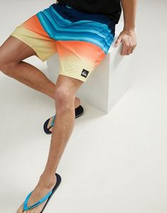 d2c990c57368e Quiksilver | Quiksilver Highline Hold Down Vee 18 Stripe Boardshort In  Blue/Orange Boardshorts,