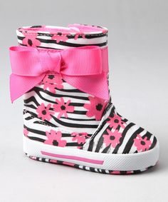 Take a look at this Pink & Black Zebra Flower Short Rain Boot by Baby Deer on #zulily today!