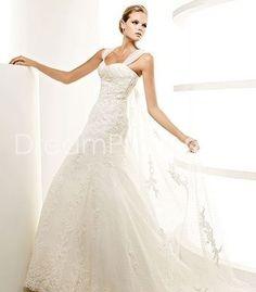 [$211.19] Gorgeous Trumpet/Mermaid Straps Floor-length Watteau Vintage Wedding Dresses