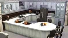 Black&White Kitchen at Sanjana sims via Sims 4 Updates The Sims, Sims 4 House Plans, Sims 4 House Building, Sims 4 Ps4, Sims 3, Sims 4 Kitchen, Sims 4 House Design, Sims Games, Sims 4 Build