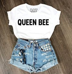 t-shirt white and black tshirt denim shorts jeweled shorts high waisted shorts beyonce queen bee