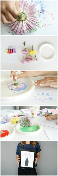 Flower Art: An Easy DIY Wall Art Project For Kids Using Flowers!