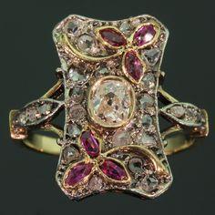 Victorian ring with rubies rose cut diamonds and old mine cut brilliant diamond . Victorian ring with rubies rose cut diamonds and old mine cut brilliant diamond (image 1 of Ruby Jewelry, Art Deco Jewelry, Jewelery, Fine Jewelry, Jewelry Design, Diamond Jewelry, Jewelry Box, Jewelry Necklaces, Victorian Jewelry