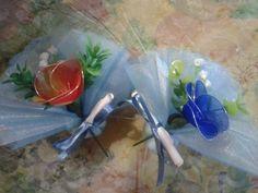 Bomboniere semplice, fiore di nylon con calamita