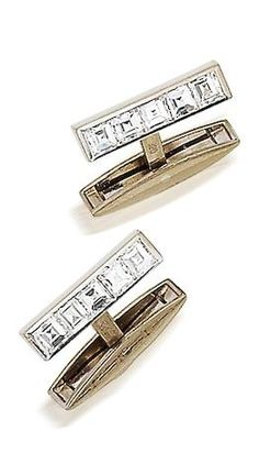 Bonhams Fine Art Auctioneers & Valuers: auctioneers of art, pictures, collectables and motor cars Vintage Cufflinks, Men's Cufflinks, Designer Cufflinks, Tie And Pocket Square, Well Dressed Men, Bling, Mens Fashion, Gemstones, Diamond