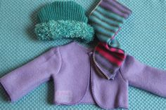 doll clothes made from scarves and hat