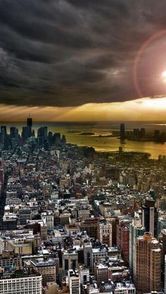 Manhattan, Sunset, New York, United States, City