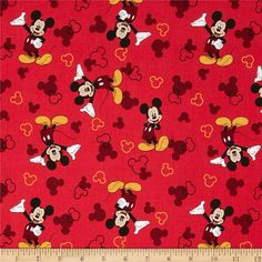 Disney Mickey Mouse & Silhouette Red from @fabricdotcom  Designed by Disney and licensed to Springs Creative Products, this cotton print fabric is perfect for quilting, apparel and home decor accents. Colors include black, orange, peach, white, and shades of red. Due to licensing restrictions, this item can only be shipped to USA, Puerto Rico, and Canada.