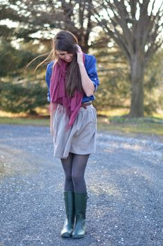 Brilliant blue button-up shirt, grey skirt, charcoal tights, green wellies, brown leather belt, purple-pink scarf