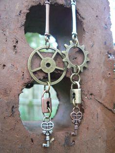 steampunk earrings dangling gears keys and by gildedingypsy, $18.00