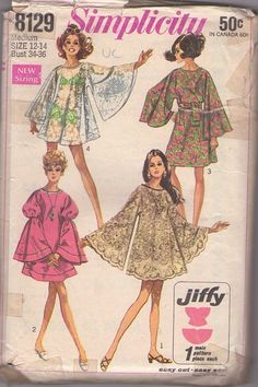 Simplicity 8129 vintage 60s sewing pattern, mod gogo angel sleeve dress made from tableclothes! #MOMSPatterns
