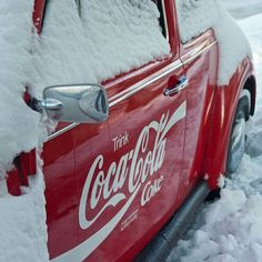 Coca-Cola truck stuck in snow