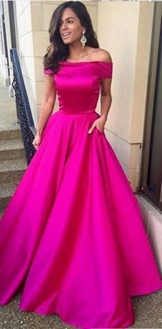 Dressywe  Charming A-Line Off-the-Shoulder Sweep Fuchsia Stain Prom Dress