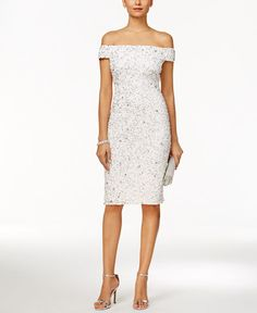199.00$  Buy now - http://vijav.justgood.pw/vig/item.php?t=j4nx4q14278 - Off-The-Shoulder Beaded Sheath Dress 199.00$