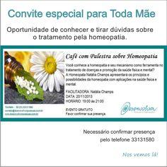 Palestra sobre homeopatia. Dia 20 de novembro às 19h.