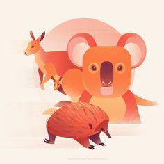 Save Australia by Jasmijn Solange Evans Vibrant Colors, Colours, Artist At Work, Pikachu, Behance, Australia, Evans, Painting, Animals