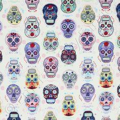 Tela retro - Tela FQ :: skulls colors day :: - hecho a mano por nosgustanlosretros en DaWanda