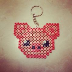 Pig keychain hama beads by dspixelshop