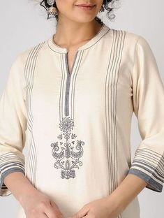Kurti Embroidery Design, Embroidery Fashion, Embroidery Dress, Indian Embroidery Designs, Neck Designs For Suits, Dress Neck Designs, Blouse Designs, Kurta Patterns, Embroidered Kurti