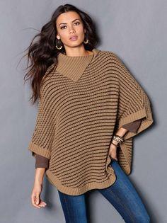 Capa poncho mujer tricot. Abrígate con los cálidos tonos tierra con esta elegante capa que te envolverá de estilo esta temporada. Una prenda muy versátil, c