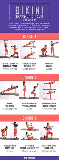 Add some weights to workout: all these moves are workout multiple body parts so it is super efficient and will tone you all over.
