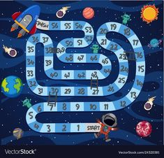 A space maze game template Royalty Free Vector Image Board Game Template, Printable Board Games, Solar System Activities, Activities For Kids, Clever Kids, Maze Game, Kids Schedule, Preschool Writing, Space Theme