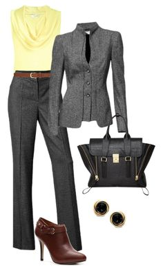 """Gray pant suit"" by debbiedonothing ❤ liked on Polyvore featuring L.K.Bennett, Dickins & Jones, Ivanka Trump, Zales and 3.1 Phillip Lim"
