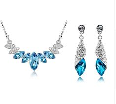 Fine or Fashion:Fashion Included Additional Item Description:Necklace+ earrings Style:Classic Gender:Women Material:Crystal Women's Jewelry Sets, Wedding Jewelry Sets, Women Jewelry, Silver Rhinestone, Rhinestone Jewelry, Crystal Necklace, Pendant Necklace, Crystal Jewelry, Fashion Earrings