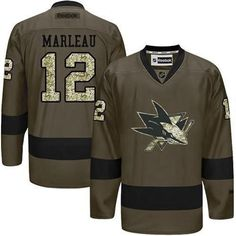 Men's San Jose Sharks #12 Patrick Marleau Reebok Green Camo Player Jersey