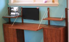 Weston's Bamboo folding desk that converts to a side board Modular Furniture, Home Office Furniture, Modern Classic, Mid-century Modern, Folding Desk, Second Hand Furniture, Shelf System, Mid Century Modern Design, Wall Shelves