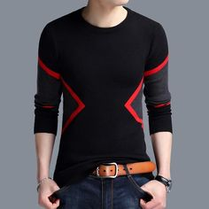 2019 New Autumn Winter Fashion Brand Clothing Men's Sweaters Breathable Slim Fit Men Pullover Contrast Color Knitted Sweater Men Casual Sweaters, Casual Shirts For Men, Men Casual, Men Shirts, Pullover Outfit, Mens Pullover, Jumper, Men Sweater, Streetwear