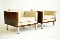Pair of Milo Baughman Cube Lounge Chairs | From a unique collection of antique and modern lounge chairs at https://www.1stdibs.com/furniture/seating/lounge-chairs/