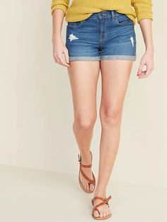 Mid-Rise Distressed Boyfriend Jean Shorts for Women -- inseam Cotton Shorts Women, Boyfriend Jean Shorts, Shop Old Navy, Old Navy Women, Women's Fashion Dresses, Fashion Boutique, Dress To Impress, Cute Outfits, Clothes