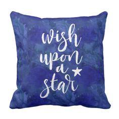 Wish upon a star midnight blue kids pillow - kids kid child gift idea diy personalize design