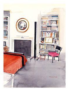 Albert Hadley's Bedroom // Mita Corsini Bland || watercolour rendering