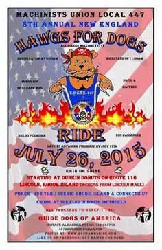 Lincoln, RI - July 26, 2015: Hawgs for Dogs motorcycle Ride. All proceeds benefit Guide Dogs of America.