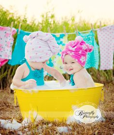 What a sweet baby photoshoot session idea. I love the towels on the head, the laundry hanging, and the adorable faces. {child photography} {family photography}