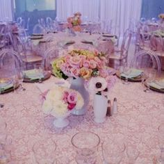 Lace Table Overlay on our Blush Polyester Table Linen at this lovely event!