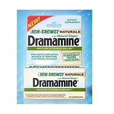 Dramamine NON Drowsy NATURALS Motion Sickness Relief, 18 Caps. NEW * USA
