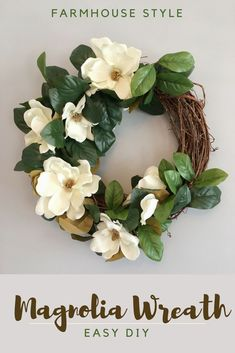 Make a simple spring wreath from green and artificial flowers.clubMake a simple spring wreath from green and artificial flowers. flowers a simple wreath of spring greenA Burlap Daisy Wreath Tutorial - Flor Magnolia, Magnolia Wreath, Magnolia Flower, Magnolia Mom, Diy Spring Wreath, Diy Wreath, Wreath Ideas, Tulle Wreath, Boxwood Wreath