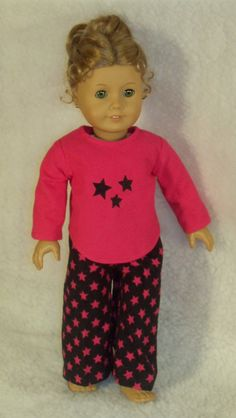 American Girl Doll Pink Stars Pajamas by Lynniejo on Etsy, $14.50