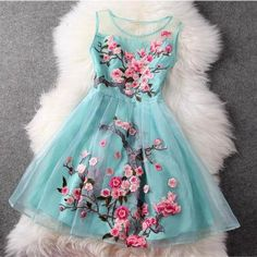 2014 High fashion organza embroidery dress summer sleeveless flower embroidered dress plus size short tank dress 3 colors Pretty Dresses, Sexy Dresses, Beautiful Dresses, Fashion Dresses, Casual Dresses, Fashion Clothes, Gorgeous Dress, Dress Clothes, Beautiful Clothes