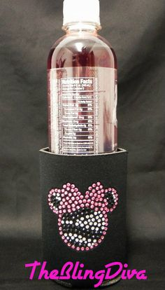 Sparkly Pink Rhinestone Zebra Minnie Mouse Koozie for Beer, Soda and Water Bottles. $9.99, via Etsy.