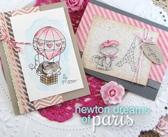 Paris Kitty Valentine Cards by Jennifer Jackson | Newton's Nook Designs | Newton Dreams of Paris Stamp Set