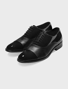 bf76308c5c929 Cap Toe Shoes in Patent/Calf Tuxedo Shoes, Groom Shoes Black, Black Shoes