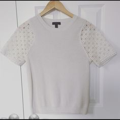 J Crew Top w/ Cutout Lace Sleeves Gorgeous JCrew shirt / 100% cotton / worn twice / size small J. Crew Tops Tunics