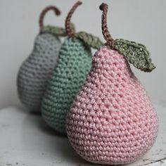 Crochet pear - Gehaakte peertjes in mooie vintage kleuren